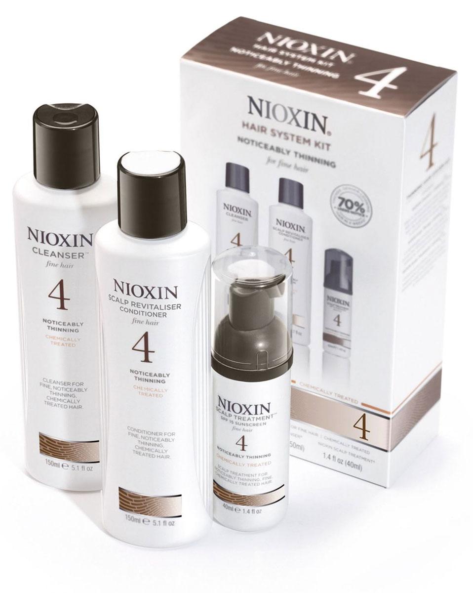Nioxin System Набор (Система 4) 4 Kit 150 мл+150 мл+40 мл81274205В набор Nioxin Starter Kit System 4 входят: Шампунь Очищение 150 мл - придающий объём очиститель Кондиционер Увлажнение 150 мл - придающий объём кондиционер Маска Питание 40 мл - придающая объём и питающая волосы маска