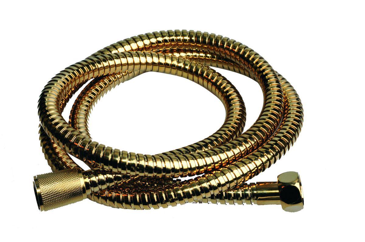 Шланг для душа Argo Eur, цвет: золото, 1/2, 150 смBA900Универсальный гибкий шланг для душа Argo Eur с внешней оболочкой изнержавеющей стали, сочетает в себе отличные эксплуатационные характеристикии приятный дизайн. Прочный и надежный шланг эргономичен и прост в монтаже, удобен виспользовании. Длина: 150 см. Выходы шлага: 1/2. Тип фитинга: гайка - конус с насечкой.Тип соединения оплетки: двойной замок.