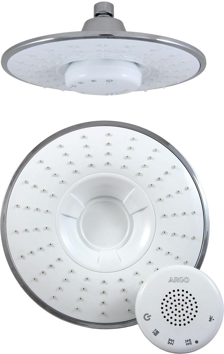 Душ верхний Argo Sound, музыкальный, цвет: белый, диаметр 21,5 см34983Верхний душ Argo Sound воплощает в себе стильную простоту и комфорт в использовании. Внутренняя конструкция изделия обеспечивает достаточный напор струи даже при низком давлении воды в системе водопровода. Изделие выполнено из пластика и оснащено функциями проигрывания музыки и приема телефонных звонков. Проигрывание музыки и прием телефонных звонков происходит посредством передачи сигнала от основного источника через Bluetooth. Управление осуществляется как с музыкального источника, так и непосредственно через блок–приемник по системе Touch Screen. - Версия Bluetooth: Bluetooth V3.0 + EDR - Аккумуляторная батарея: 1100 mАh Li – Po - Радиус действия сигнала: 15 метров - Время полного заряда батареи: 4 часа - Продолжительность работы батареи: 11,5 часов - Режим ожидания: 15 дней (при низком заряде батареи, колонка будет издавать сигнал) - Водостойкий корпус музыкального блока - Присоединительный размер: 1/2 -...