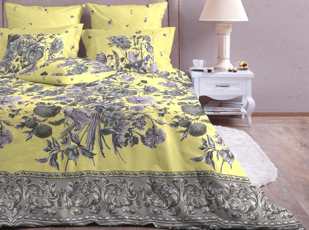 """Комплект белья Хлопковый Край """"Валенсия"""", 1,5-спальный, наволочки 70x70, цвет: желтый 879-1"""