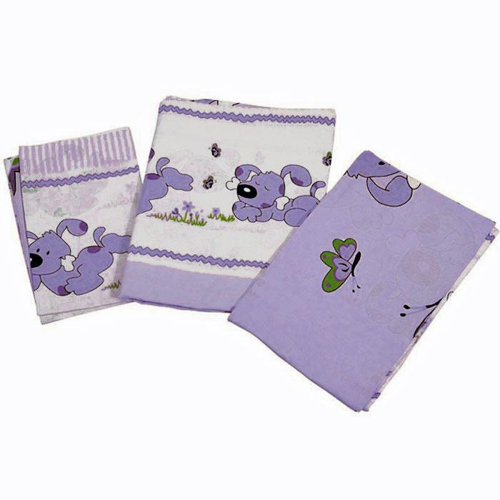 Топотушки Комплект белья для новорожденных Дружок цвет сиреневый 3 предмета