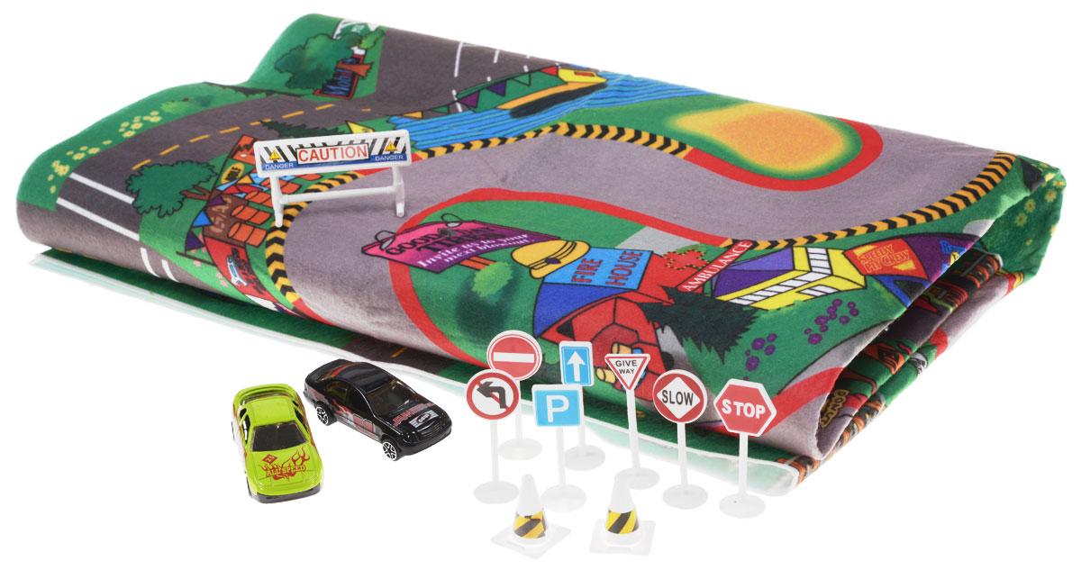 Big Motors Игровой набор Гоночный трек цвет машин салатовый черный