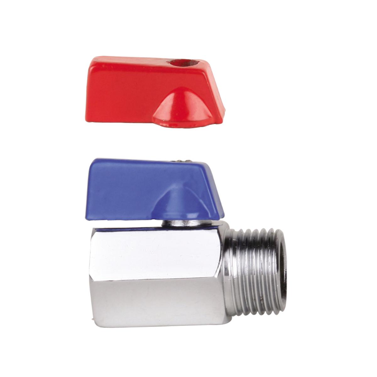 Кран-мини 1/2, резьба внутренняя / наружная, ручка флажок AQUALINKИС.080341Кран-мини 1/2, резьба внутренняя / наружная, ручка флажок предназначен для систем питьевого холодного и горячего водоснабжения, отопления, систем сжатого воздуха, жидких углеводородов, а также для технологических трубопроводов, транспортирующих жидкости, не агрессивные к материалам крана. Рекомендуется поворачивать ручку крана не меньше одного раза в 3 месяца для предотвращения образования солей кальция. Использование шаровых кранов в качестве регулирующей арматуры не допускается. Минимальные размеры позволяют инсталлировать краны в условиях ограниченного пространства. Диаметр: 1/2 (15 мм).