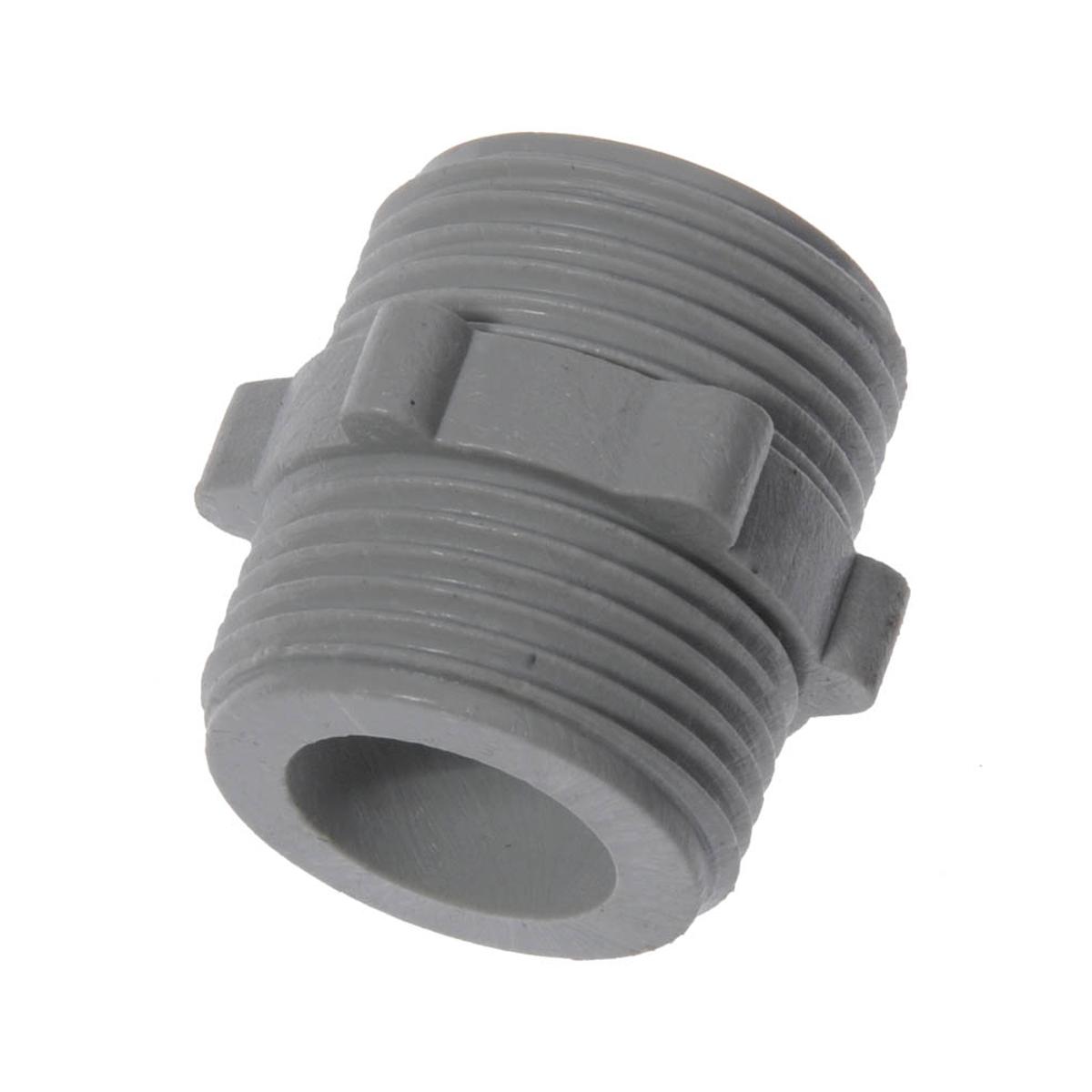 Ниппель 3/4 пластик, наружная резьба МастерПрофИС.130482Ниппель (боченок) пластиковый представляет из себя соединительную трубку, предназначенную для временного или постоянного герметичного соединения двух заливных шлангов друг с другом. Размер: 3/4 (20 мм). Материал: пластик. Цвет: белый.