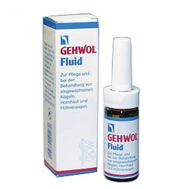 Gehwol Fluid - Жидкость Флюид для ног 15 мл1*10901Жидкость Флюид (Gehwol Fluid ) содержит ингредиенты из тимьяна, ромашки и гвоздики, которые смягчают и дезинфицируют кожу. Жидкость «Флюид» возвращает ногтям и коже вокруг них ухоженный вид и эластичность. Назначение: средство для ухода за жесткой, загрубевшей кожей вокруг ногтей, обработки и лечения вросших ногтей, мозолей.