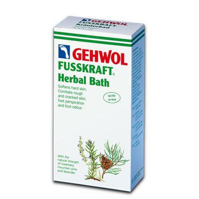 Gehwol Fusskraft Herbal Bath - Травяная ванна для ног 400 гр1*11516Средство Травяная ванна Геволь (Fusskraft Herbal Bath Gehwol) с натуральными ингредиентами из трав и масла горной сосны. Ее основное воздействие направлено на нормализацию процесса потоотделения и продолжительное действие против запаха пота. Ванна также обладает сильными смягчающими свойствами и предназначена для размягчения чрезмерно жёсткой кожи ступней, мозолей, натоптышей, загрубевшей и растрескавшейся кожи ног. Назначение: Эффективно размягчает загрубевшую кожу, натоптыши и мозоли. Обладает дезодорирующим действием и нормализует потоотделение.
