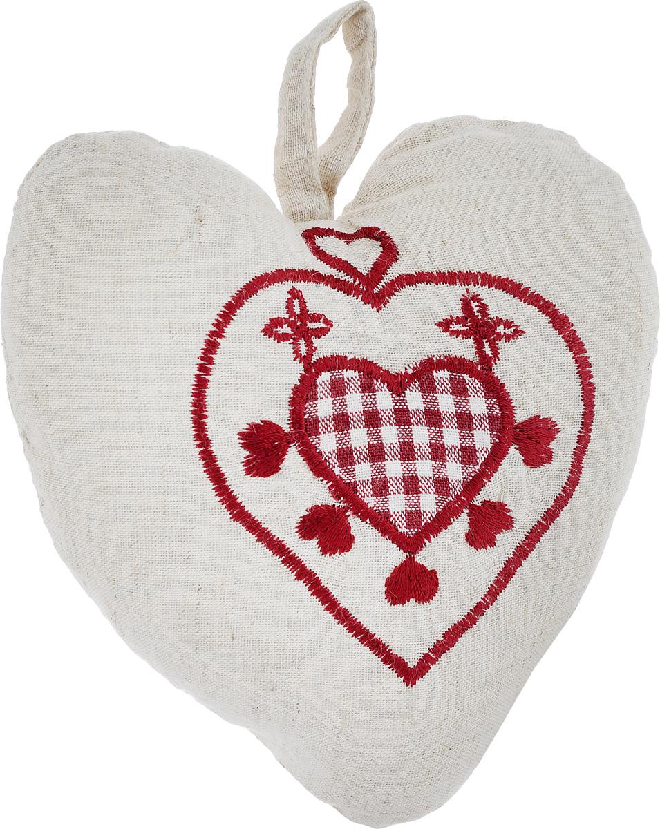 Подушка декоративная Schaefer Сердце, 16 х 13 см1092029Подушка Schaefer Сердце станет отличным украшением интерьера. Изделие выполнено в форме сердца из хлопка с добавлением льна и оснащено петелькой для подвешивания. Лицевая сторона подушки декорирована вышивкой. Внутри - мягкий наполнитель. Подушка Schaefer Сердце - это не только стильный предмет декора, но и хороший подарок вашим друзьям и близким, который подарит только положительные эмоции.