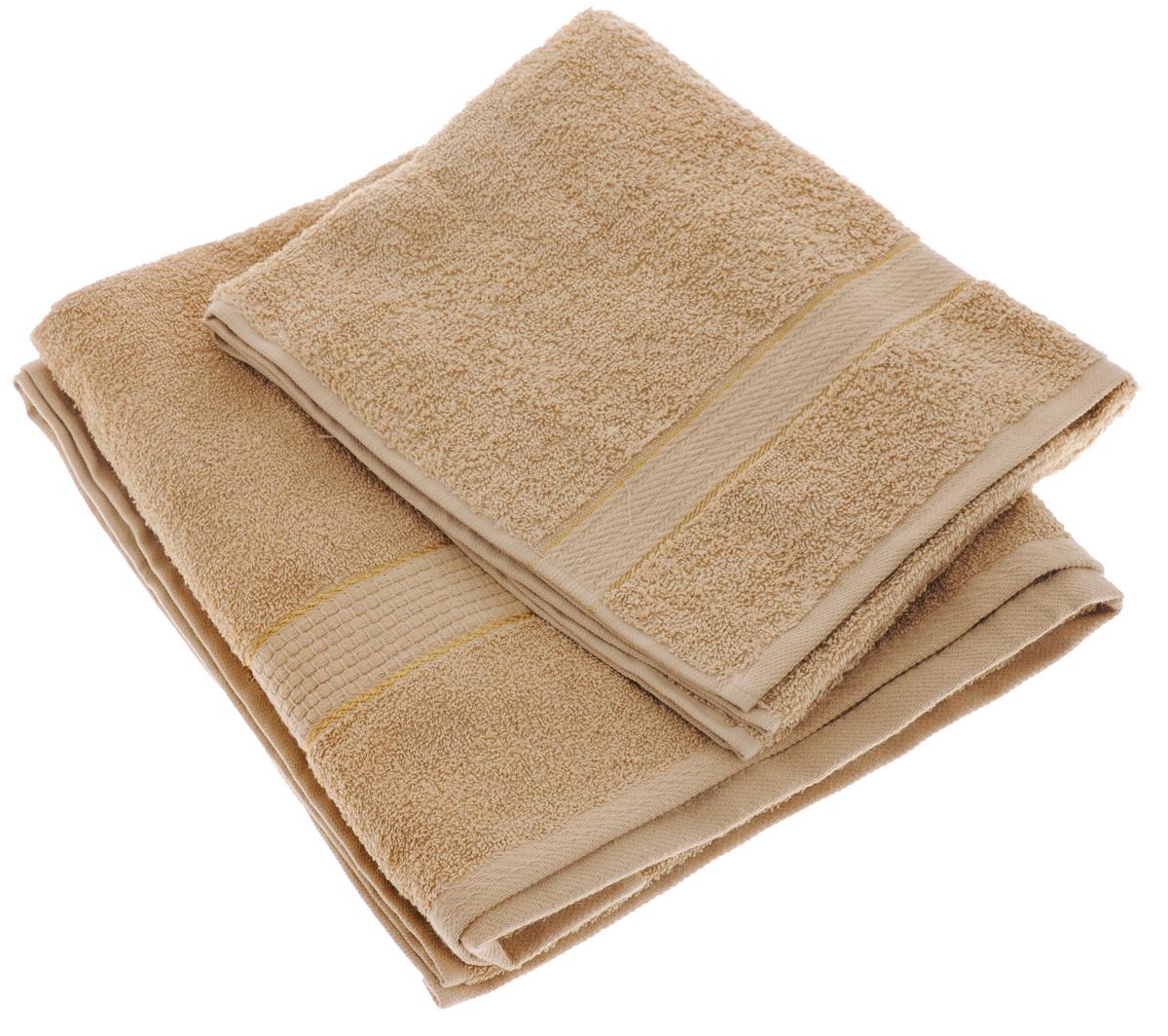 Набор махровых полотенец Aisha Home Textile, цвет: светло-коричневый, 2 шт. УзТ-НПМ-102УзТ-НПМ-102-23Набор Aisha Home Textile состоит из двух махровых полотенец разного размера. В состав входит только натуральное волокно - 100% хлопок. Лаконичные бордюры подойдут для любого интерьера ванной комнаты. Полотенца прекрасно впитывают влагу и быстро сохнут. При соблюдении рекомендаций по уходу не линяют и не теряют форму даже после многократных стирок. Комплектация: 2 шт.