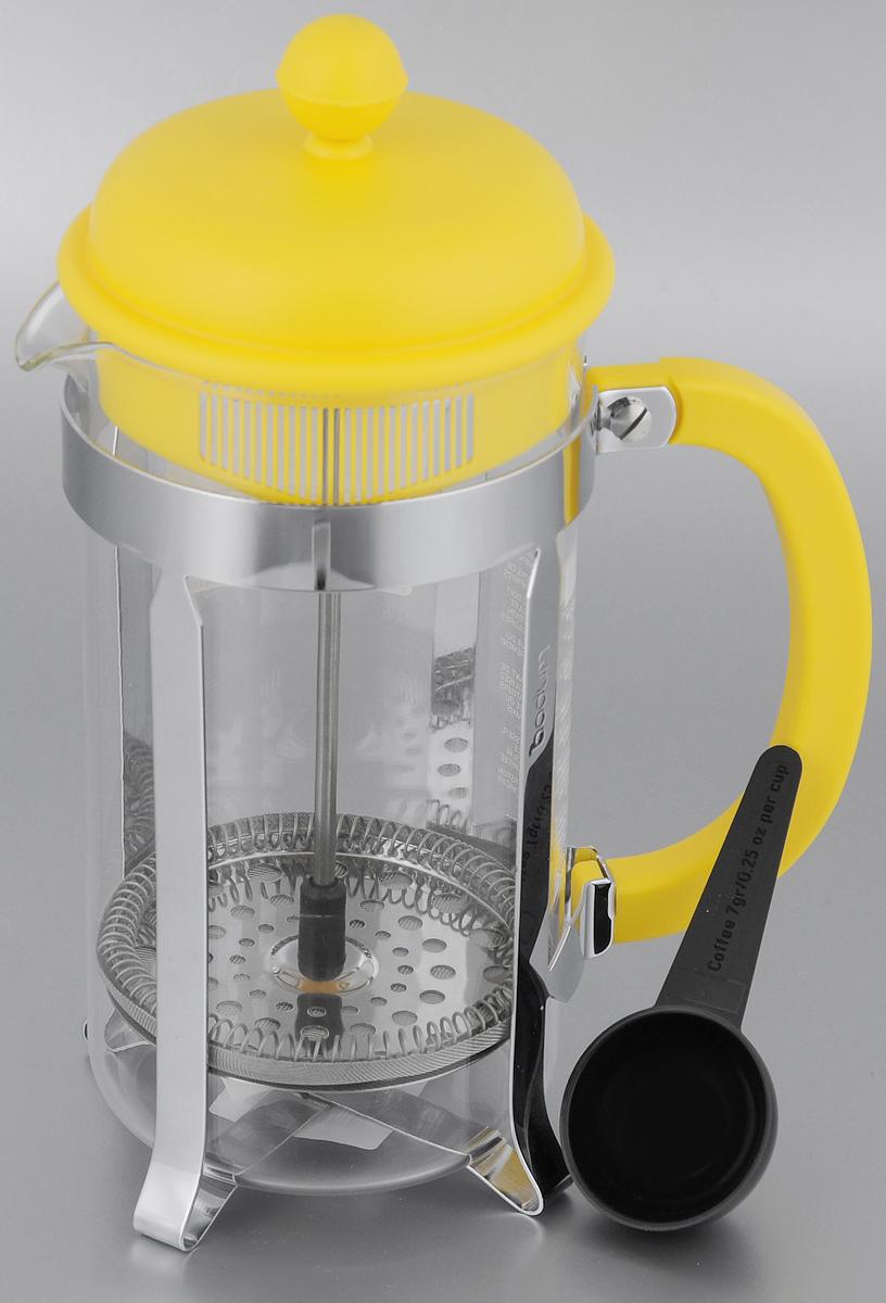 Френч-пресс Bodum Caffettiera, с ложкой, цвет: желтый, 1 лA1918-957-Y15Френч-пресс Bodum Caffettiera изготовлен из высококачественной нержавеющей стали, пластика и жаропрочного стекла. Фильтр-поршень из нержавеющей стали выполнен по технологии Press-Up для обеспечения равномерной циркуляции воды. Засыпая чайную заварку или кофе под фильтр, заливая горячей водой, вы получаете ароматный напиток с оптимальной крепостью и насыщенностью. Френч-пресс Caffettiera позволит быстро и просто приготовить свежий и ароматный кофе или чай. В комплект входит мерная ложка. Можно мыть в посудомоечной машине. Диаметр френч-пресса (по верхнему краю): 9,5 см. Высота френч-пресса: 24,5 см. Длина ложки: 10 см. Диаметр рабочей поверхности ложки: 4,5 см.