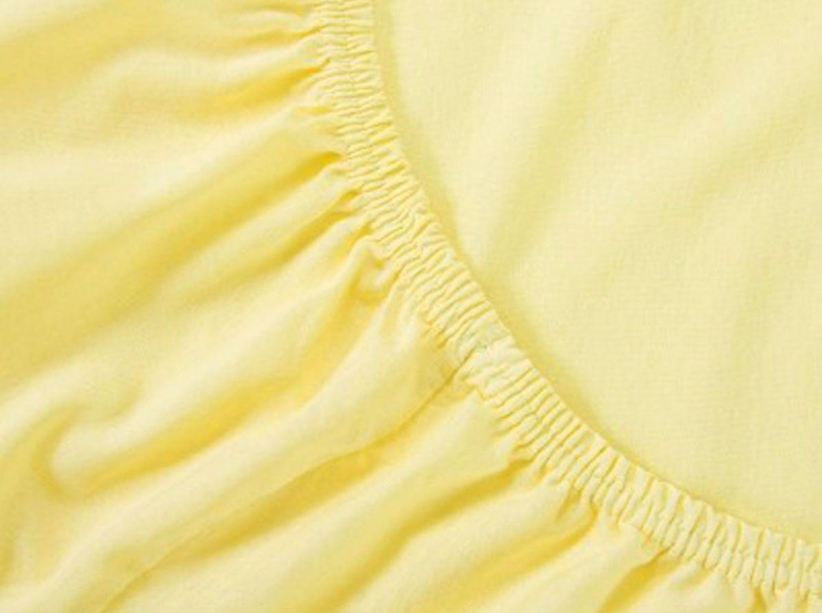 Простыня на резинке Хлопковый Край, цвет: желтый, размер 120 х 200 смПТР-180_белыйБренд: Хлопковый Край. Чебоксары, Россия Коллекция: Радуга желаний Материал: ТРИКОТАЖ (кулирка)-100% хлопок; Плотность 125 гр/м2- нежное, гладкое и прочное; Активное крашение - простынь не теряет цвет; Гиппоалергенно и безопасно даже для детей; Стойкое к стиркам - не образуются катышки Высота бортика 20 см - подходит для 99% матрасов; Резинка по всему периметру - идеально садится на матрас; Сертификат ЕАС и знак Eco Friendly