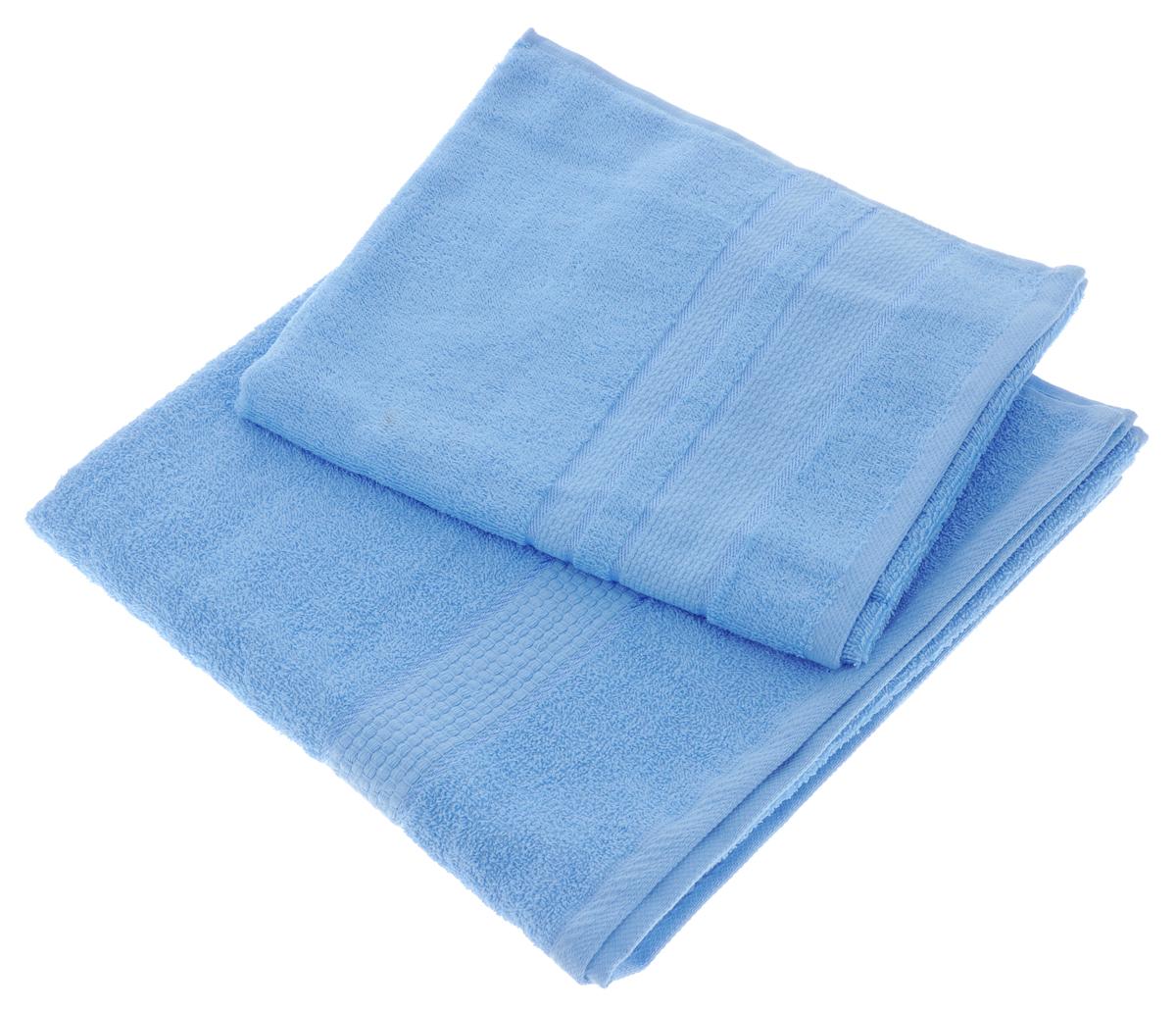 Набор махровых полотенец Aisha Home Textile, цвет: голубой, 2 шт. УзТ-НПМ-102УзТ-НПМ-102-06Набор Aisha Home Textile состоит из двух махровых полотенец разного размера. В состав входит только натуральное волокно - 100% хлопок. Лаконичные бордюры подойдут для любого интерьера ванной комнаты. Полотенца прекрасно впитывают влагу и быстро сохнут. При соблюдении рекомендаций по уходу не линяют и не теряют форму даже после многократных стирок. Комплектация: 2 шт.