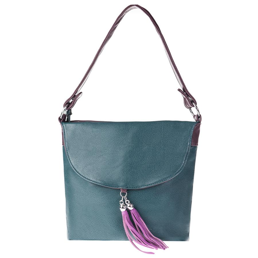 Сумка женская Orsa Oro, цвет: темно-зеленый, фиолетовый. D-104/51D-104/8Стильная женская сумка Orsa Oro выполнена из искусственной кожи с зернистой фактурой, декорирована оригинальной подвеской. Изделие содержит одно отделение, которое закрывается на молнию. Внутри расположены четыре накладных кармашка для мелочей, один из которых закрывается на молнию, и врезной карман на молнии. Снаружи, на лицевой стороне изделия, расположен клапан, под которым размещен врезной карман на молнии. Задняя сторона сумки также дополнена клапаном и врезным карманом на молнии. Сумка оснащена практичной съемной лямкой и съемным плечевым ремнем регулируемой длины. Оригинальный аксессуар позволит вам завершить образ и быть неотразимой.