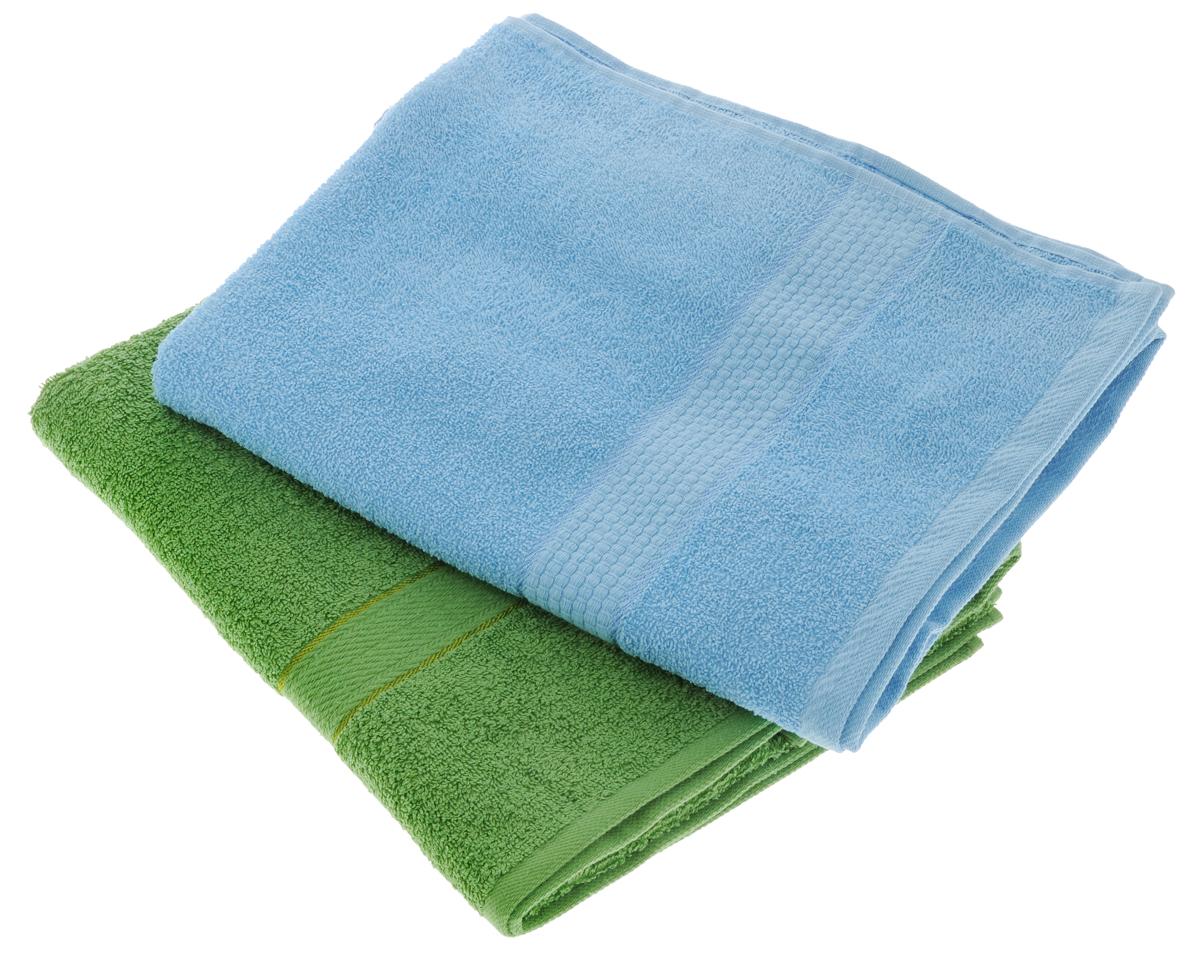 Набор махровых полотенец Aisha Home Textile, цвет: голубой, зеленый, 70 х 140 см, 2 шт10503Набор Aisha Home Textile состоит из двух махровых полотенец, выполненных из натурального 100% хлопка. Изделия отлично впитывают влагу, быстро сохнут, сохраняют яркость цвета и не теряют формы даже после многократных стирок.Полотенца Aisha Home Textile очень практичны и неприхотливы в уходе. Комплектация: 2 шт.