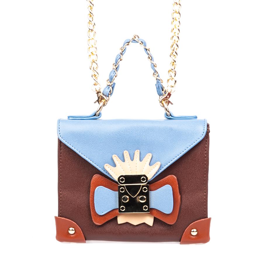 Сумка женская Orsa Oro, цвет: коричневый, голубой. D-130/5D-130/5Стильная женская сумка Orsa Oro выполнена из искусственной кожи, оформлена декоративным элементом и металлической фурнитурой. Изделие содержит одно отделение, которое закрывается на молнию и дополнительно на клапан с защелкой. Внутри расположены: два накладных кармашка для мелочей и врезной карман на молнии. На задней стороне изделия расположен накладной кармашек. Сумка оснащена съемным плечевым ремнем-цепочкой и аккуратной ручкой. Дно сумки дополнено металлическими ножками. Оригинальный аксессуар позволит вам завершить образ и быть неотразимой.
