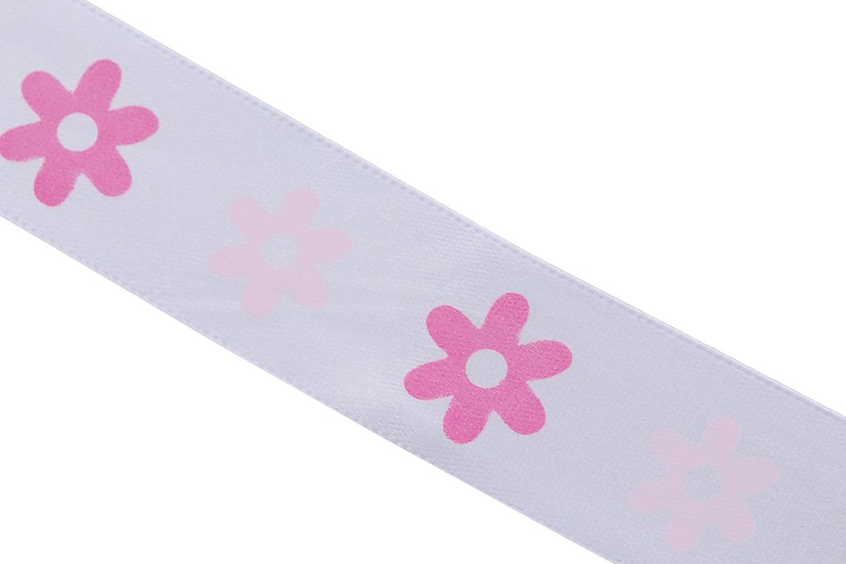 Лента атласная Dekor Line Цветочки, цвет: белый, розовый, 2,5 х 300 смKOC_GIR288LEDBALL_RАтласная лента Dekor Line Цветочки выполнена из высококачественного полиэстера. Область применения атласной ленты весьма широка. Лента предназначена для оформления цветочных букетов, подарочных коробок, пакетов. Кроме того, она с успехом применяется для художественного оформления витрин, праздничного оформления помещений, изготовления искусственных цветов. Ее также можно использовать для творчества в различных техниках, таких как скрапбукинг, оформление аппликаций, для украшения фотоальбомов, подарков, конвертов, фоторамок, открыток и прочего.Ширина ленты: 2,5 см.Длина ленты: 3 м.