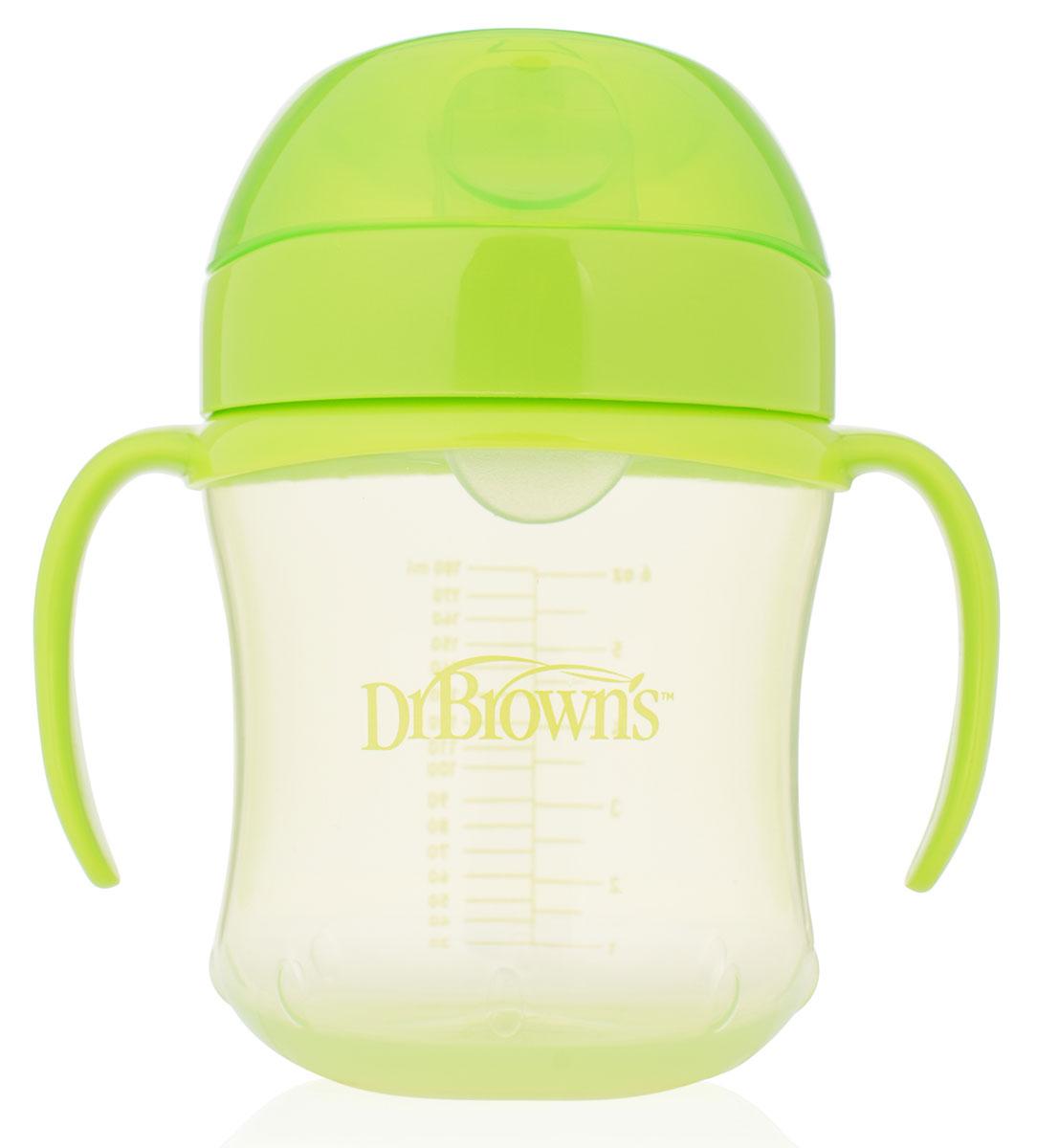 Dr.Brown's Поильник-непроливайка с мягким носиком от 6 месяцев цвет салатовый 180 мл