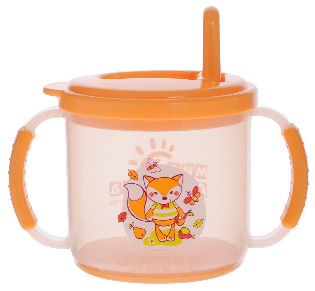 Мир детства Поильник-непроливайка от 8 месяцев цвет оранжевый 200 мл