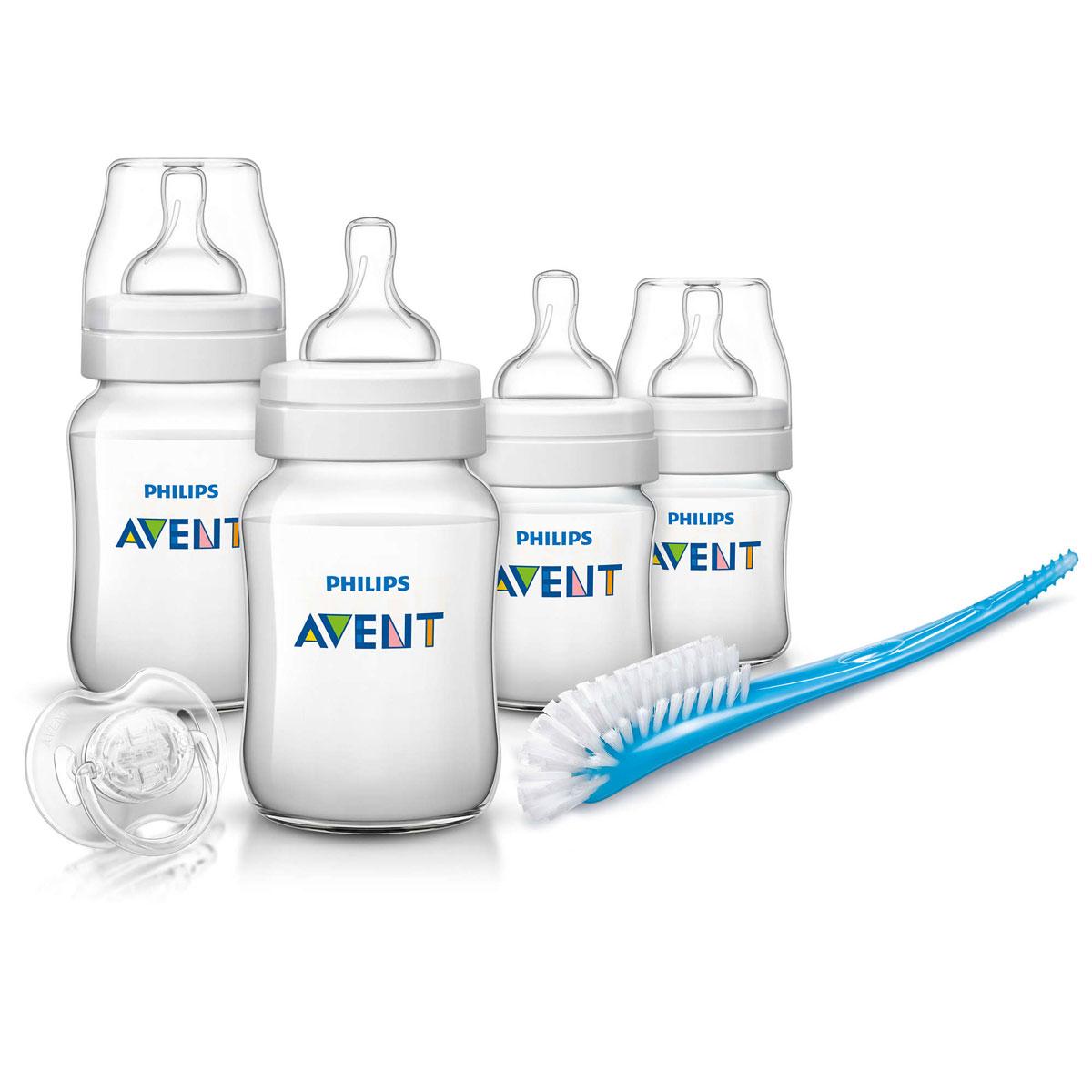 Philips Avent Набор для кормления Classic от 0 месяцев 6 предметов794004уткиВ набор для кормления Philips Avent входят 6 предметов - ершик для бутылочек и сосок, пустышка, 4 бутылочки для кормления.Все компоненты выполнены из качественного и безопасного материала, не содержат бисфенол А. Бутылочки имеют широкое горлышко, эргономичный дизайн и антиколиковую систему, эффективность которой клинически доказана.Ершик для бутылочек и сосок станет незаменимым атрибутом ухода за детскими бутылочками. Ершик имеет особую изогнутую форму и литую ручку, поэтому с ее помощью можно чистить бутылочки и соски любых типов, а также другие принадлежности для кормления.Силиконовая пустышка сгибается в соответствии с ритмом кормления.