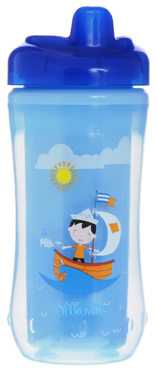 Dr.Brown's Чашка-термос 300 мл с твердым носиком 12+ месяцев Синий Парусник