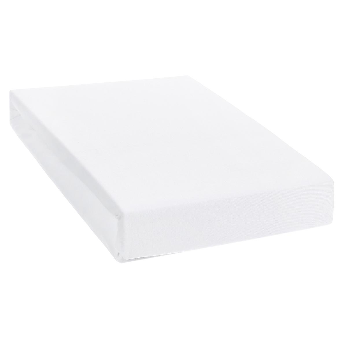 Простыня на резинке ЭГО, цвет: белый, 160 х 200 смЭ-ПР-02-35Трикотажная простыня ЭГО изготовлена из 100 % хлопка высокого качества. Натуральный, экологически чистый материал обеспечивает высокую гигиеничность изделия. Трикотаж имеет специальную структуру, образованную переплетением петель, что обеспечивает его растяжимость и эластичность. Наличие резинки позволяет легко зафиксировать простыню на матрасе. Она не сминается и не комкается во время сна. Трикотаж достаточно эластичен, поэтому изделия из него можно даже не гладить. Если простыня немного больше кровати, с помощью резинки ее можно подогнать под размер кровати, учитывая толщину матраса. Также ее можно использовать в качестве наматрасника. Резинка пришита по всему периметру простыни. Плотность 140 г/м2. Уход: машинная стирка при температуре 60°C. Не отбеливать.