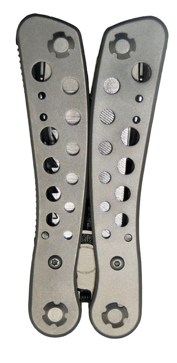 Плоскогубцы Sapfire S-Tech, многофункциональные, с набором бит5006-SASПлоскогубцы Sapfire S-Tech выполненные из нержавеющей стали. Легкий, многофункциональный комплект с отличным набором функций 8 в 1. В комплект входят: - плоскогубцы, - крестовая отвертка, - пилка для ногтей, - переходник для бит + 9 бит, - нож большой, - нож малый, - открывалка, - пила, - чехол. Длина плоскогубцев: 10,5 см. Размер чехла: 13,5 х 7 см.