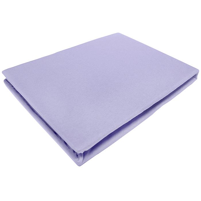 Простыня на резинке ЭГО, цвет: фиолетовый, 90 х 200 смЭ-ПР-01-34Трикотажная простыня ЭГО изготовлена из 100 % хлопка высокого качества. Натуральный, экологически чистый материал обеспечивает высокую гигиеничность изделия. Трикотаж имеет специальную структуру, образованную переплетением петель, что обеспечивает его растяжимость и эластичность. Наличие резинки позволяет легко зафиксировать простыню на матрасе. Она не сминается и не комкается во время сна. Трикотаж достаточно эластичен, поэтому изделия из него можно даже не гладить. Если простыня немного больше кровати, с помощью резинки ее можно подогнать под размер кровати, учитывая толщину матраса. Также ее можно использовать в качестве наматрасника. Резинка пришита по всему периметру простыни. Плотность 140 г/м2. Уход: машинная стирка при температуре 60°C. Не отбеливать.