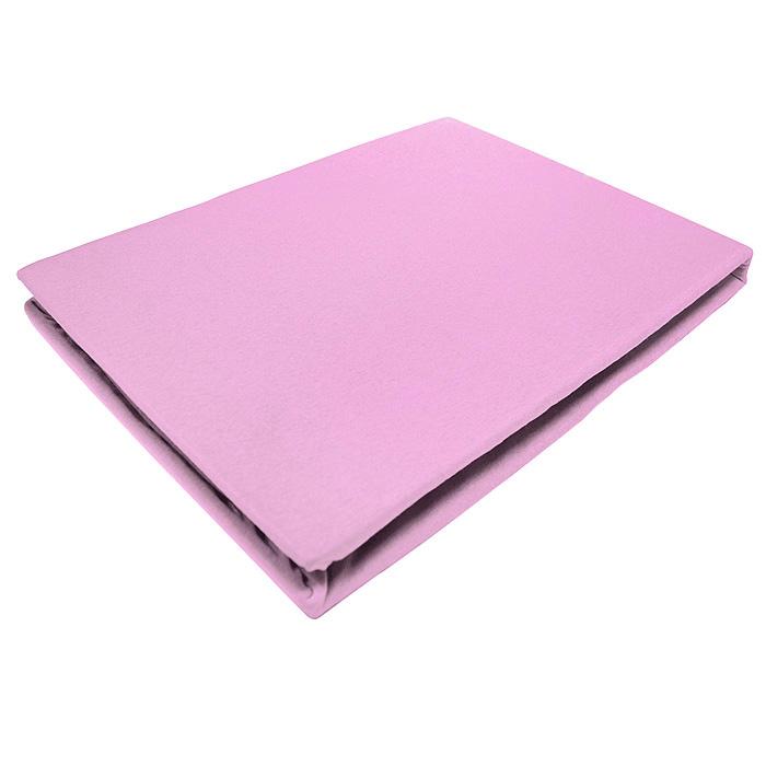 Простыня на резинке ЭГО, цвет: светло-розовый, 160 х 200 смЭ-ПР-02-32Трикотажная простыня ЭГО изготовлена из 100 % хлопка высокого качества. Натуральный, экологически чистый материал обеспечивает высокую гигиеничность изделия. Трикотаж имеет специальную структуру, образованную переплетением петель, что обеспечивает его растяжимость и эластичность. Наличие резинки позволяет легко зафиксировать простыню на матрасе. Она не сминается и не комкается во время сна. Трикотаж достаточно эластичен, поэтому изделия из него можно даже не гладить. Если простыня немного больше кровати, с помощью резинки ее можно подогнать под размер кровати, учитывая толщину матраса. Также ее можно использовать в качестве наматрасника. Резинка пришита по всему периметру простыни. Плотность 140 г/м2. Уход: машинная стирка при температуре 60°C. Не отбеливать.