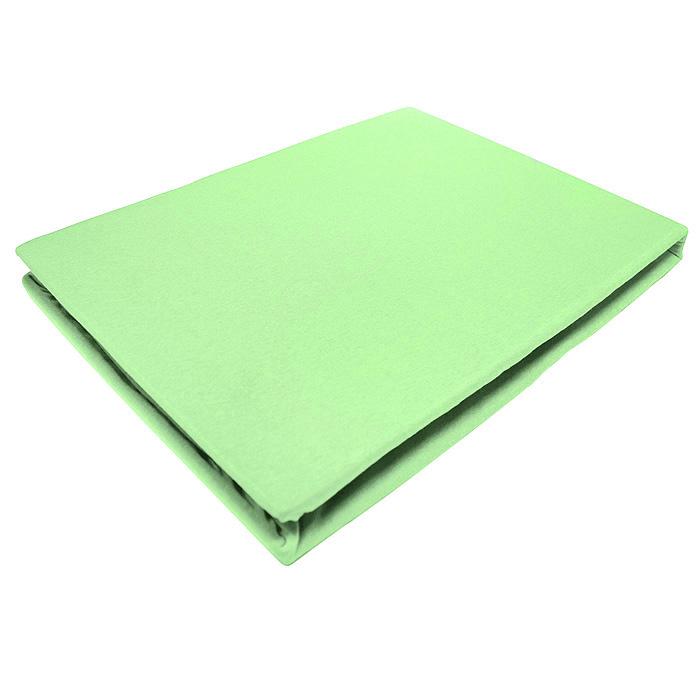 Простыня на резинке ЭГО, цвет: салатовый, 160 х 200 смЭ-ПР-02-31Трикотажная простыня ЭГО изготовлена из 100 % хлопка высокого качества. Натуральный, экологически чистый материал обеспечивает высокую гигиеничность изделия. Трикотаж имеет специальную структуру, образованную переплетением петель, что обеспечивает его растяжимость и эластичность. Наличие резинки позволяет легко зафиксировать простыню на матрасе. Она не сминается и не комкается во время сна. Трикотаж достаточно эластичен, поэтому изделия из него можно даже не гладить. Если простыня немного больше кровати, с помощью резинки ее можно подогнать под размер кровати, учитывая толщину матраса. Также ее можно использовать в качестве наматрасника. Резинка пришита по всему периметру простыни. Плотность 140 г/м2. Уход: машинная стирка при температуре 60°C. Не отбеливать.