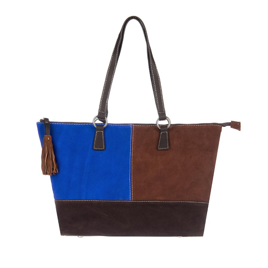 Сумка женская Orsa Oro, цвет: коричневый, синий. D-110/42D-110/42Стильная женская сумка Orsa Oro выполнена из искусственной кожи, оформлена яркими замшевыми вставками, бегунок молнии дополнен кисточками. Изделие содержит одно отделение, которое закрывается на застежку-молнию. Внутри расположены два накладных кармашка для мелочей, карман-средник на молнии и врезной карман на молнии. Задняя сторона изделия дополнена врезным карманом на молнии. Сумка оснащена удобными ручками с металлической фурнитурой. Дно изделия дополнено металлическими ножками. Оригинальный аксессуар позволит вам завершить образ и быть неотразимой.