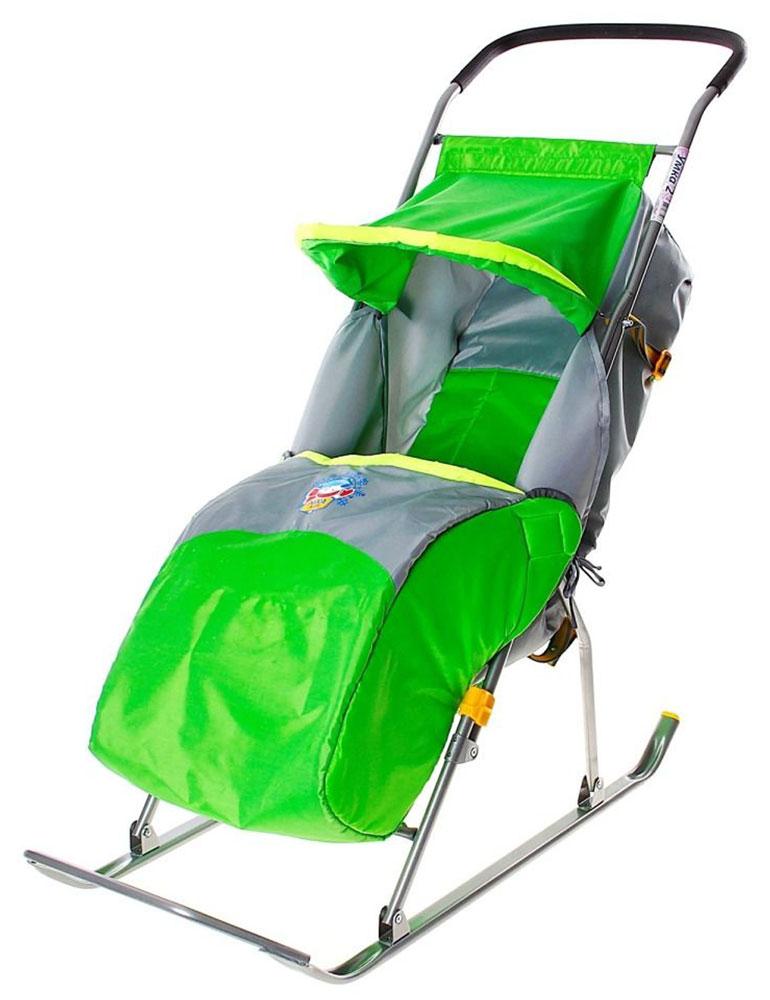Санки-коляска Умка 2, цвет: зеленый, серыйУ2Санки-коляска Умка 2 предназначены для перевозки детей от 1 года до 4 лет в сидячем положении. Перевозка допускается по плотному снегу или льду при температуре воздуха до -25°С. Имеют крепкую сварную конструкцию из стальных труб и мягкий чехол со светоотражающей окантовкой для безопасности детей в вечернее время. Каркас покрыт порошковой эмалью, которая устойчива к низким температурам. Санки-коляска Умка 2 позволяют осуществлять плавную регулировку угла наклона спинки сиденья. Козырек складывается; предусмотрены ремень безопасности и чехол для ног. Длина в рабочем положении: 105 см; Ширина посадочного места: 36 см; Ширина по полозьям: 40,4 см; Ширина полозьев: 3 см; Расстояние от опорной поверхности до ручки в рабочем положении: 96 см; Расстояние от опорной поверхности до сиденья в рабочем положении: 29 см; Размер в сложенном виде: 110 см x 40,4 см x 18 см; Масса: 4,8 кг. В комплект входит паспорт с руководством...