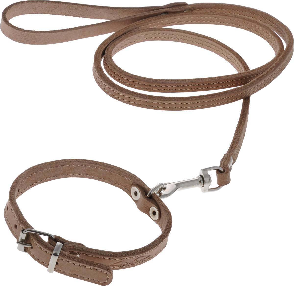 Комплект для собак Аркон Стандарт №7, цвет: коньячный, 2 предмета0120710Комплект для животных Аркон Стандарт №7 состоит из ошейника и поводка. Изделия изготовлены из высококачественного металла и прошитой в два слоя натуральной кожи. Надежная конструкция обеспечит вашему четвероногому другу комфортную и безопасную прогулку.Такой комплект подходит для мелких и средних пород собак. Длина поводка: 1,4 м.Ширина поводка: 1 см.Обхват шеи: 25 - 33 см. Ширина ошейника: 1,6 см.