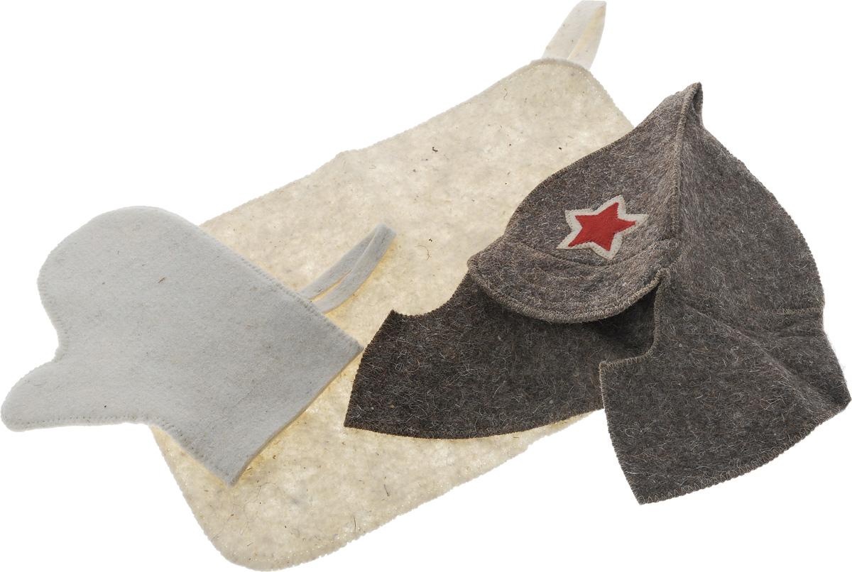 Набор для бани и сауны Proffi Звезда, 3 предметаPS0167Оригинальный набор для бани Proffi Звезда включает в себя шапку, рукавицу и коврик. Изделия выполнены из войлока (шерсть с добавлением полиэфира). Шапка оформлена декоративной нашивкой в виде красной звезды. Шапка, рукавица и коврик - это незаменимые аксессуары для любителей попариться в русской бане и для тех, кто предпочитает сухой жар финской бани. Необычный дизайн изделий поможет сделать ваш отдых приятным и разнообразным. Шапка защитит волосы от сухости и ломкости, голову от перегрева и предотвратит появление головокружения. Рукавица обезопасит ваши руки от появления ожогов, а коврик от высоких температур при контакте с горячей лавкой в парилке. На изделиях имеются петельки, с помощью которых их можно повесить на крючок в предбаннике. Такой набор станет отличным подарком для любителей отдыха в бане или сауне. Размер коврика: 48 х 32 см. Обхват головы: 60 см. Высота шапки: 29 см. Размер рукавицы:...