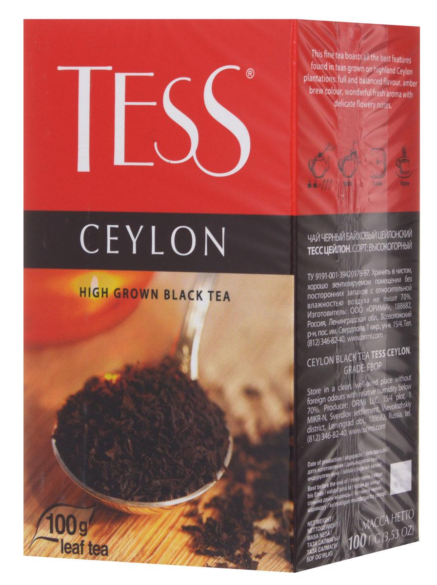 Tess Ceylon черный листовой чай, 100 г0120710Tess Ceylon - черный цейлонский чай, выращенный на высокогорных плантациях. Отличается насыщенным, ярким вкусом и тонким природным ароматом, свойственным высокогорным чаям. Отличительная особенность высокогорных чаев в том, что они обладают более светлым настоем, чем собранные на равнине, хотя по крепости порой даже превосходят их.
