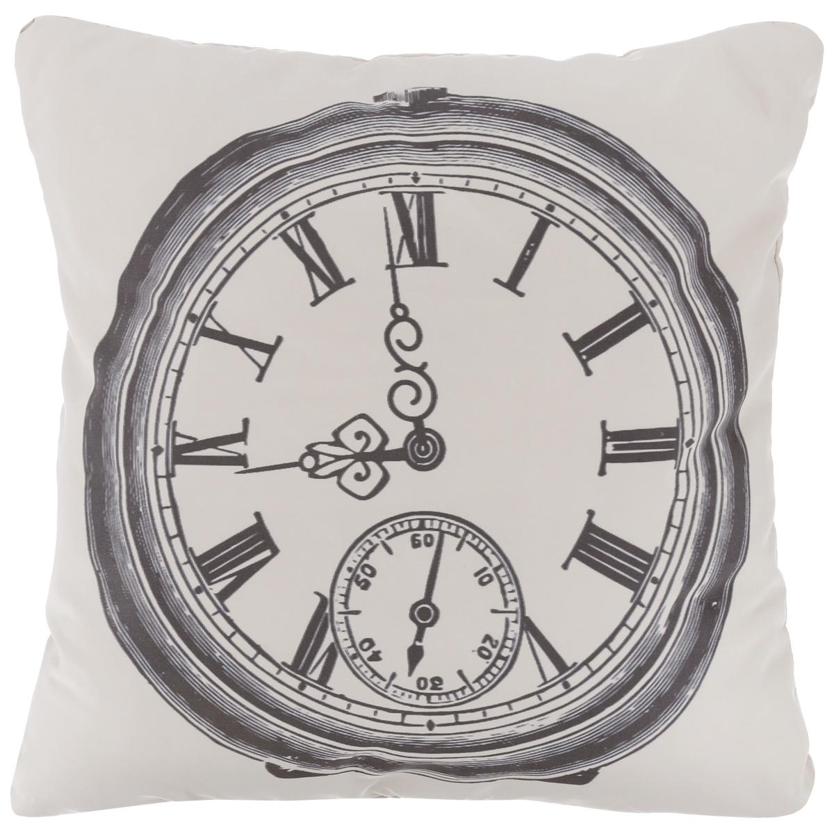 Подушка декоративная Proffi Старинные часы, цвет: белый, черный, 43 х 43 см531-401Декоративная подушка Proffi Старинные часы - это яркое украшение вашего дома. Чехол выполнен из приятного на ощупь полиэстера и застегивается на молнию. Внутри - мягкий наполнитель, изготовленный из шариков холлофайбера.Лицевая сторона подушки украшена ярким изображением, задняя сторона - однотонная. Стильная и яркая подушка эффектно украсит интерьер и добавит в привычную обстановку изысканность и роскошь.
