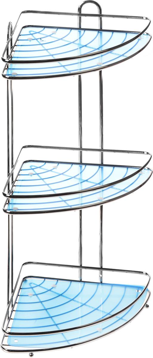 Полка подвесная Vanstore Blue, 3-ярусная, угловая, высота 53,5 см016-55Подвесная полка Vanstore Blue, выполненная из стали, сэкономит место в ванной комнате. Полка подвешивается с помощью саморезов (входят в комплект). Она пригодится для хранения различных принадлежностей, которые всегда будут под рукой. Благодаря компактным размерам полка впишется в интерьер вашего дома, а также позволит удобно и практично хранить предметы домашнего обихода. Размер яруса (ДхШхВ): 30,5 х 22,5 х 4,5 см. Общая высота полки: 53,5 см.