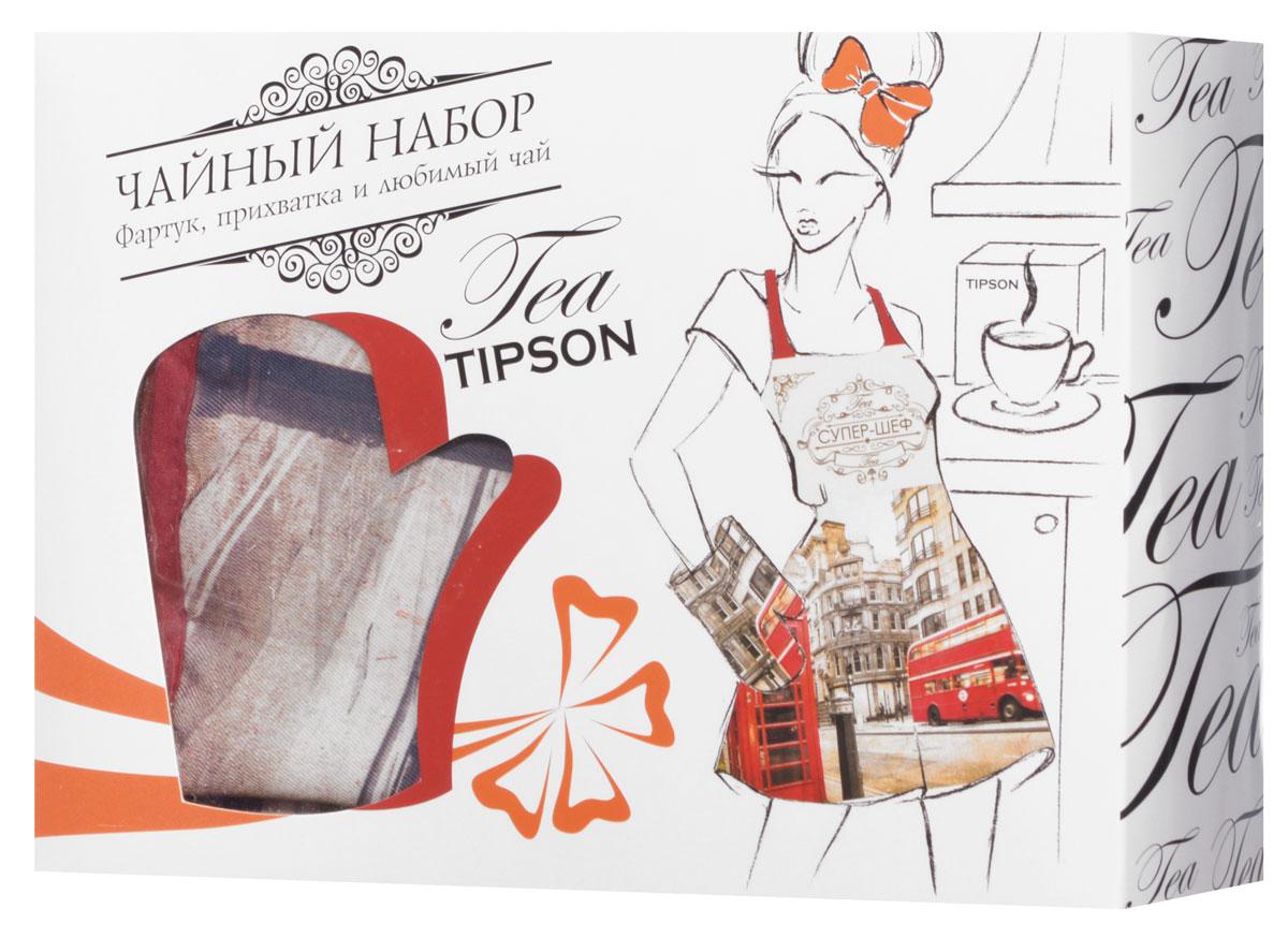 Tipson Подарочный набор Лондон черный чай Ceylon №1 и дизайнерский фартук с прихваткой в подарок, 85 г10060-00Что подарить дорогим дамам? Конечно же цветы и что-то милое и в то же время полезное. Порадуйте милую хозяюшку праздничным чайным набором Tipson Лондон с плотной варежкой-прихваткой и нарядным фартуком. Яркая коробка из дизайнерского картона, украшенная молодежным принтом, несомненно вызовет только положительные эмоции, а входящий в набор качественный черный чай Tipson Ceylon №1 подарит насыщенный вкус и аромат свежести цейлонских чайных плантаций. Размер фартука: 80 см х 70 см Материал фартука: 100% полиэстер Размер прихватки: 17 см х 28 см Материал прихватки: 100% полиэстер