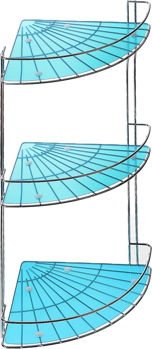 Полка подвесная Vanstore Blue Slim, 3-ярусная, угловая, высота 48 см037-55Подвесная полка Vanstore Blue Slim, выполненная из стали, сэкономит место в ванной комнате. Полка подвешивается с помощью саморезов (входят в комплект). Она пригодится для хранения различных принадлежностей, которые всегда будут под рукой. Благодаря компактным размерам полка впишется в интерьер вашего дома, а также позволит удобно и практично хранить предметы домашнего обихода. Размер яруса (ДхШхВ): 25 х 18 х 4,5 см. Общая высота полки: 48 см.