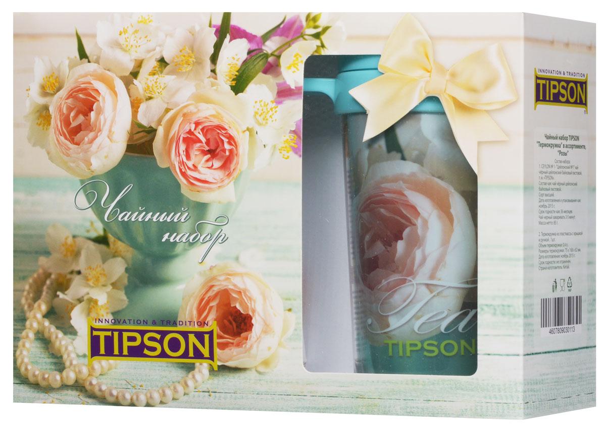 Tipson Подарочный набор Розы черный чай Ceylon №1 в комплекте с термокружкой, 85 г10057-00Чайный набор Tipson Розы с термокружкой - это удачное сочетание яркой кружки и традиционного чая Ceylon №1. Заваривая чай в термокружке Розы, вы получите необыкновенный заряд бодрости и отличного настроения! Объем термокружки: 0,4 л