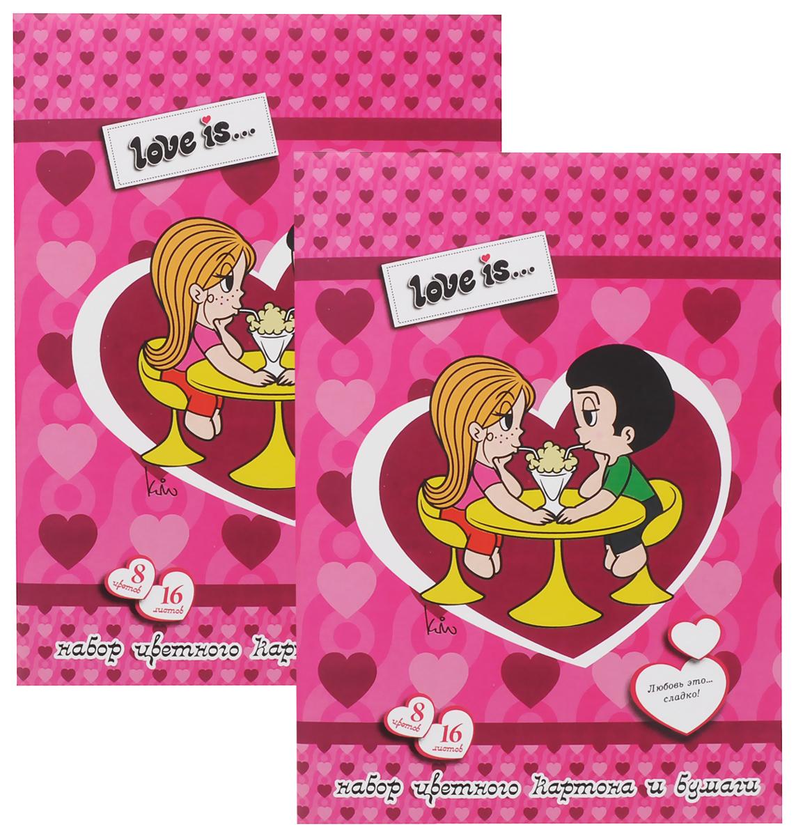Action! Набор цветного картона и бумаги Love is... 16 листов 2 шт цвет розовыйLI-CCP-16/8_розовыйНабор цветного картона и бумаги Action! Love is... позволит вашему ребенку создавать всевозможные аппликации и поделки. Набор содержит 8 листов цветного картона и 8 листов цветной бумаги формата А4. Листы упакованы в оригинальную картонную папку, оформленную в тематике Love is.... Создание поделок из бумаги и картона поможет ребенку в развитии творческих способностей, кроме того, это увлекательный досуг. В комплекте 2 набора по 16 листов.