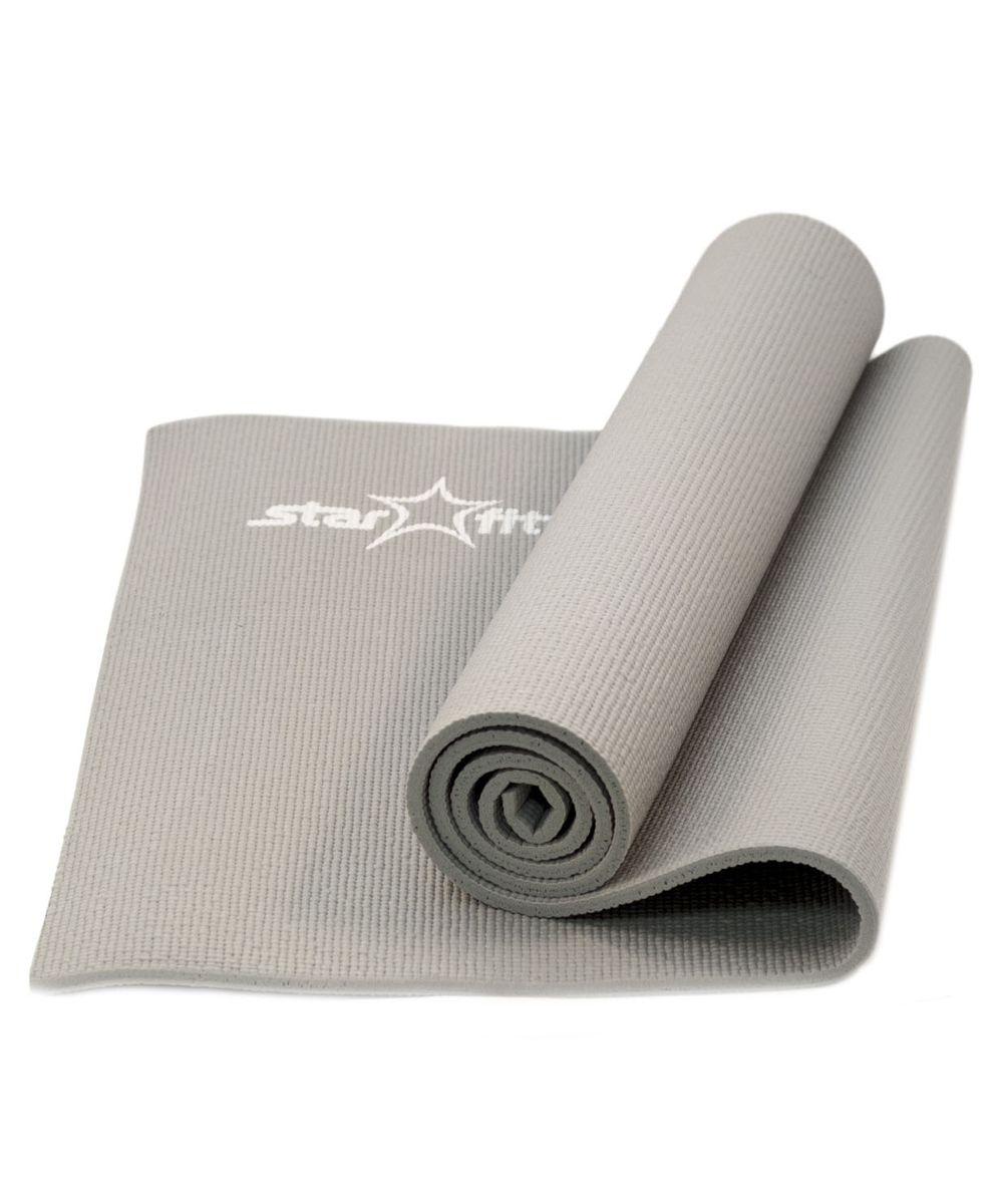 Коврик для йоги Starfit, цвет: серый. FM-101УТ-00007232Коврик для йоги FM-101, желтый - это современный, удобный и компактный аксессуар для занятий фитнесом и йогой в группах или домашних условиях. Нескользящая поверхность обеспечивает комфорт при выполнении упражнений. В процессе занятий коврик не растягивается и не теряет формы. Мягкая, бархатистая на ощупь поверхность коврика создает ощущение дополнительного комфорта и предотвращает скольжение рук и ног во время занятий. Основные характеристики: Тип: коврик для йоги и фитнеса Материал: ПВХ (полимерные материалы) Длина, см: 173 Ширина, см: 61 Толщина, см: 1 Цвет: желтый Вес, кг: нет Дополнительные характеристики: Особенности: Комфортная не скользящая поверхность Легкий, удобно брать на занятия Прочный и упругий материал, не растягивается Легко моется Компактный, хранится в свернутом виде