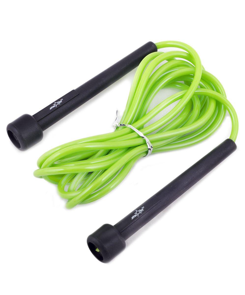Скакалка Starfit RP-101, цвет: зеленый, черный, длина 3 м14630019671330Скакалка Star Fit RP-101 предназначена для укрепления мышц рук и ног, а также для общей тренировки. Скакалку приятно держать в руках. Трос выполнен из ПВХ, что полезно для тех, кто учится прыгать на скакалке, потому что минимизируется риск нанесения травмы.