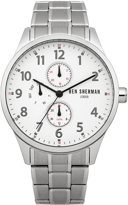 Наручные часы мужские Ben Sherman, цвет: серый металлик. WB004SMWB004SMМногофункциональный механизм 6P27 Miyota; Корпус из нержавеющей стали; Размер корпуса o 43mm; Минеральное стекло; Белый циферблат; Нет камней; Браслет; Водозащита 5 ATM