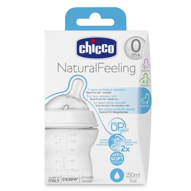 Chicco Бутылочка для кормления с силиконовой соской Natural Feeling от 0 месяцев 150 мл