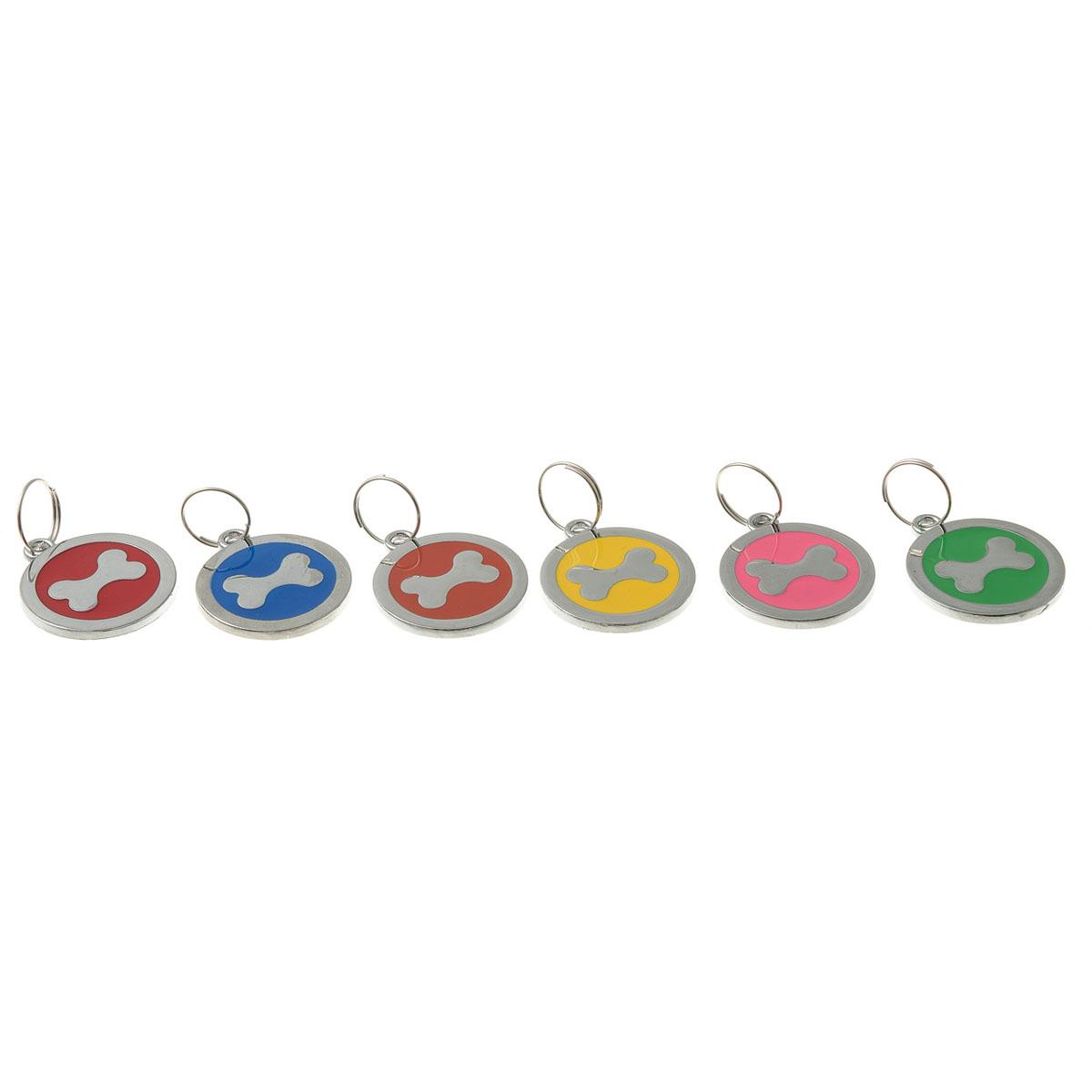 Адресник-косточка V.I.Pet, круглый 25 мм. 100211002Брелок на ошейник. Предназначено для животных в виде украшения, а также гравировки адреса и телефона владельца. Материал: нержавеющая сталь
