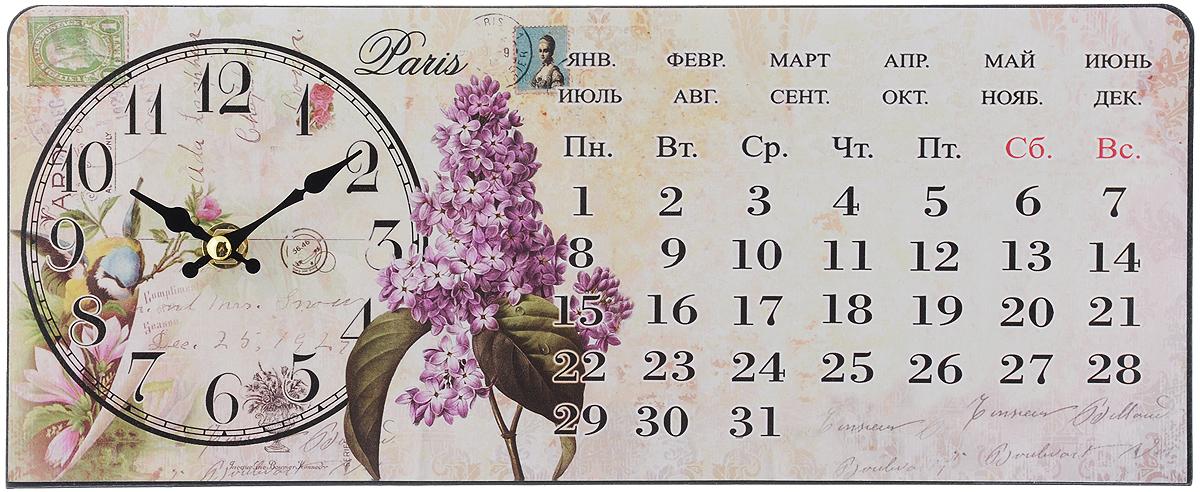 Часы настольные Феникс-Презент Сирень, 35 х 14 см40748Настольные часы прямоугольной формы Феникс-Презент Сирень своим эксклюзивным дизайном подчеркнут оригинальность интерьера вашего дома. Часы выполнены из металла. Они оформлены изображением календаря и сирени. Часы имеют две стрелки - часовую и минутную. Настольные часы Феникс-Презент Сирень подходят для кухни, гостиной, прихожей или дачи, а также могут стать отличным подарком для друзей и близких. ВНИМАНИЕ!!! Часы работают от сменной батареи типа АА (в комплект не входит).