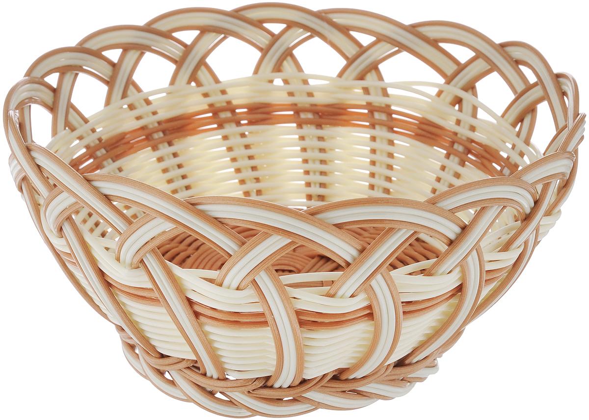 Корзинка плетеная Oriental Way Мульти, цвет: молочный, коричневый, диаметр 20 см корзинка плетеная oriental way мульти круглая диаметр 18 см