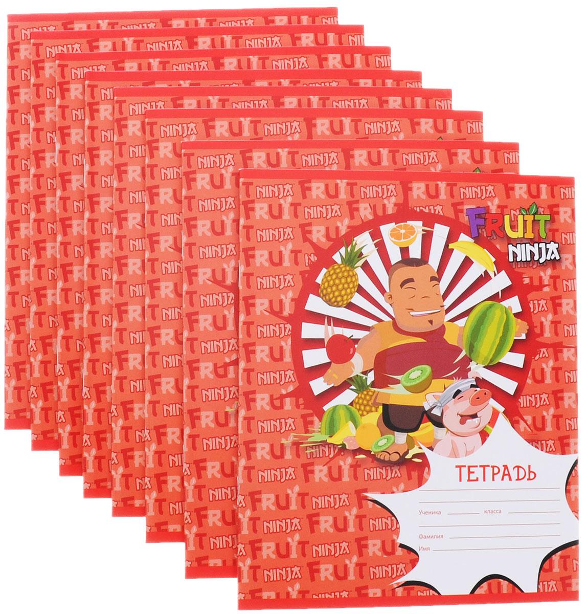 Action! Набор тетрадей Fruit Ninja 24 листа в клетку цвет красный 8 штFN-AN 2402/5_красныйНабор тетрадей Action! Fruit Ninja прекрасно подойдет для учащихся любого возраста. Обложка выполнена из мелованного картона и украшена изображением героя знаменитой игры Fruit Ninja. Внутренний блок тетради состоит из 24 листов белой бумаги. Страницы размечены стандартной линовкой в голубую клетку и дополнены полями, совпадающими с лицевой и оборотной стороны листа. Набор состоит из 8 тетрадей.