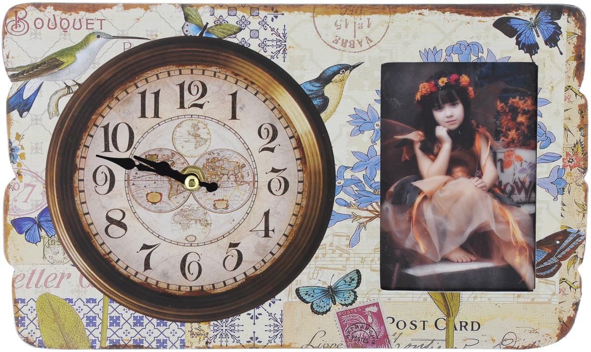 Часы настольные Феникс-Презент Осенние мотивы, с фоторамкой, 30 х 18 х 4,5 см40745Настольные часы Феникс-Презент Осенние мотивы выполнены из МДФ и декорированы оригинальным рисунком. Изделие оснащено фоторамкой, защищенной стеклом. С оборотной стороны имеется пластиковая ножка для размещения часов на ровной горизонтальной поверхности. Часы работают от одной батарейки типа АА 1,5V (не входит в комплект). Настольные часы Феникс-Презент Осенние мотивы - прекрасный подарок и красивый предмет для декора интерьера. Диаметр циферблата: 15 см. Размер фоторамки: 12 х 8 см.