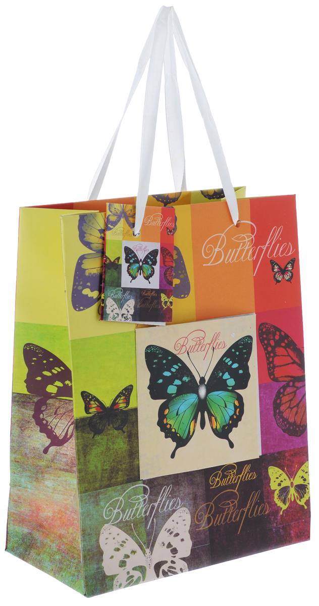 """Пакет подарочный Феникс-Презент """"Радужные бабочки"""", 17,8 х 22,9 х 9,8 см 40876"""