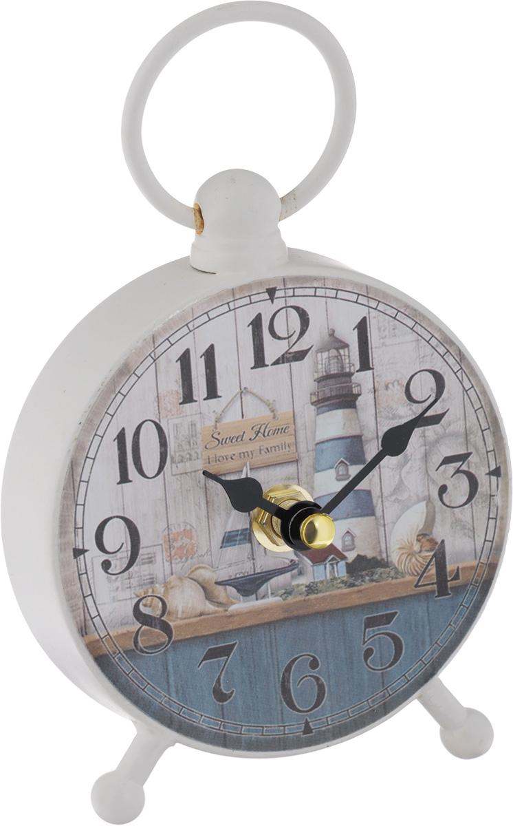 Часы настольные Феникс-Презент Морской пейзаж40740Настольные часы круглой формы Феникс-Презент Морской пейзаж своим эксклюзивным дизайном подчеркнут оригинальность интерьера вашего дома. Часы выполнены из металла и оформлены изображением моря, маяка и яхты. Часы имеют две стрелки - часовую и минутную. Настольные часы Феникс-Презент Морской пейзаж подходят для кухни, гостиной, прихожей или дачи, а также могут стать отличным подарком для друзей и близких. ВНИМАНИЕ!!! Часы работают от сменной батареи типа АА 1,5V (в комплект не входит).